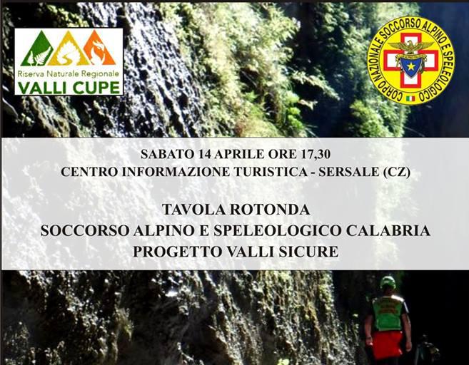 Tavola rotonda sul Soccorso Alpino e Speleologico in Calabria e sul progetto Valli Sicure